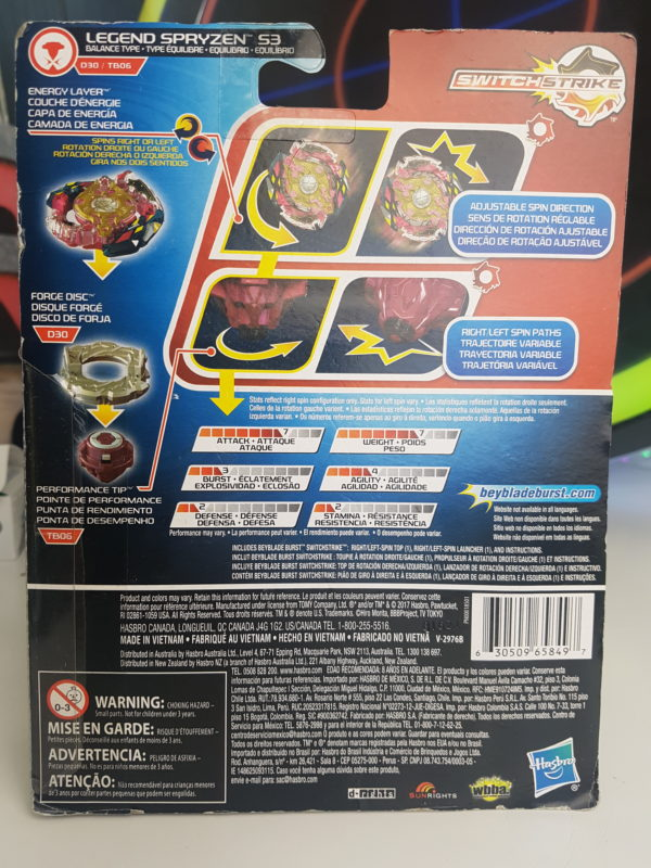 beyblade burst evolution legend spryzen s3 hasbro pas cher boite dos