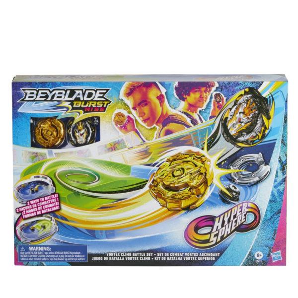 Beyblade Burst rise officielle hypersphere Hasbro toupies Pack arène combat Vortex boîte vue devant Spintop Battle