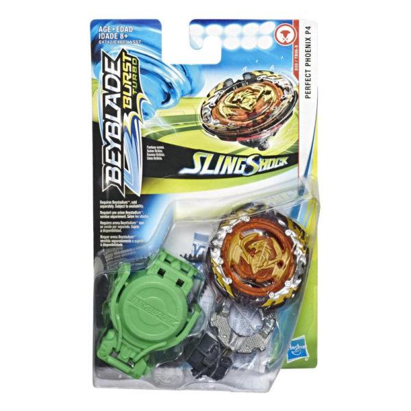 Beyblade Burst turbo slingshock officielle Hasbro toupie Starter Pack perfect phoenix p4 lanceur à rotation droite-gauche boîte vue devant Spintop Battle