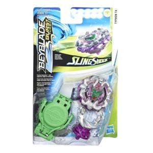 Beyblade Burst turbo slingshock officielle Hasbro toupie Starter Pack typhon T4 lanceur à rotation droite-gauche boîte vue devant Spintop Battle