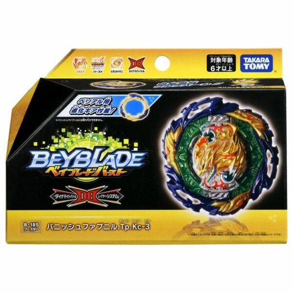 Toupie-Beyblade-Burst-Takara-Tomy-Dynamite-Battle B-185 Booster Vanish Fafnir Tapered Kick-3-boîte-devant-vue-face-officielle