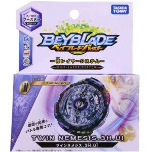 Toupie-Beyblade-Burst-Takara-Tomy-Superking-b102-Booster-Twin-Nemesis.3H.UI-boîte-devant-vue-face-officielle
