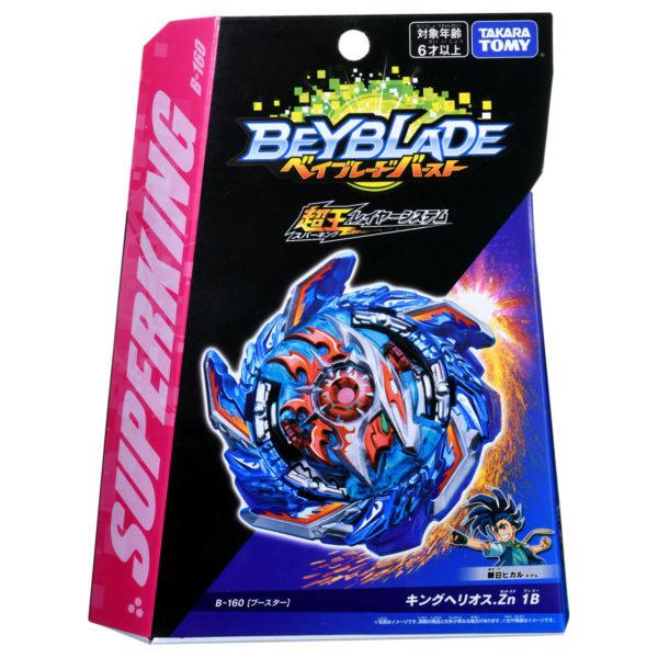 Toupie Beyblade Burst Takara Tomy Superking b160 Booster King Helios Zn 1B boîte devant vue face officielle Spintop Battle