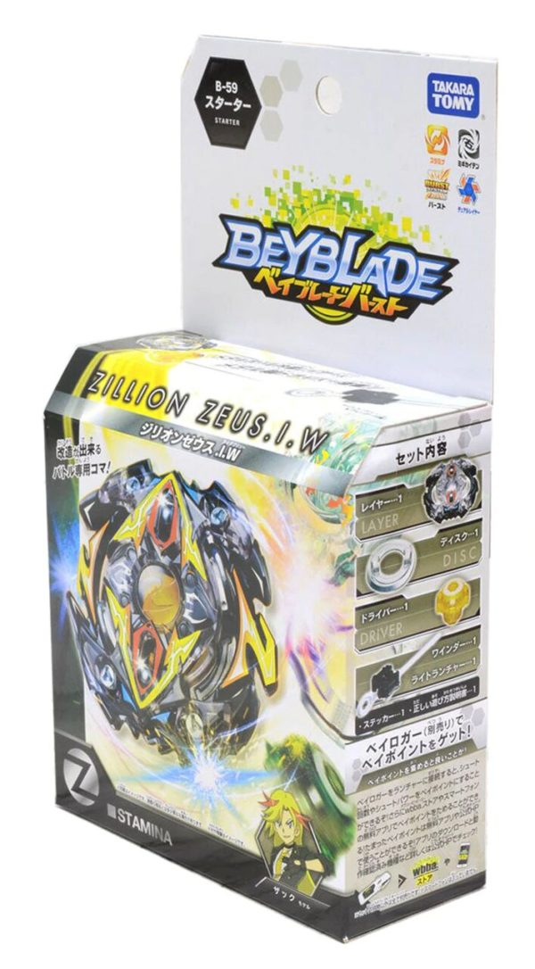 Toupie-Beyblade-Burst-Takara-Tomy-b59-Starter- Zillion Zeus I.W-boîte-devant-vue-face-officielle