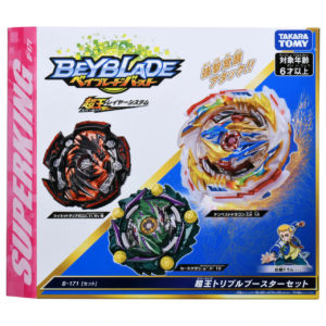 Toupie Beyblade Burst Takara Tomy Superking b171 triple booster set boîte devant vue face officielle Spintop Battle